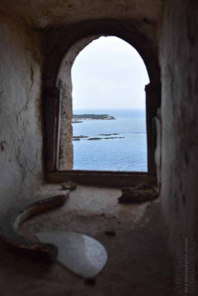 Strofades castle window to the sea