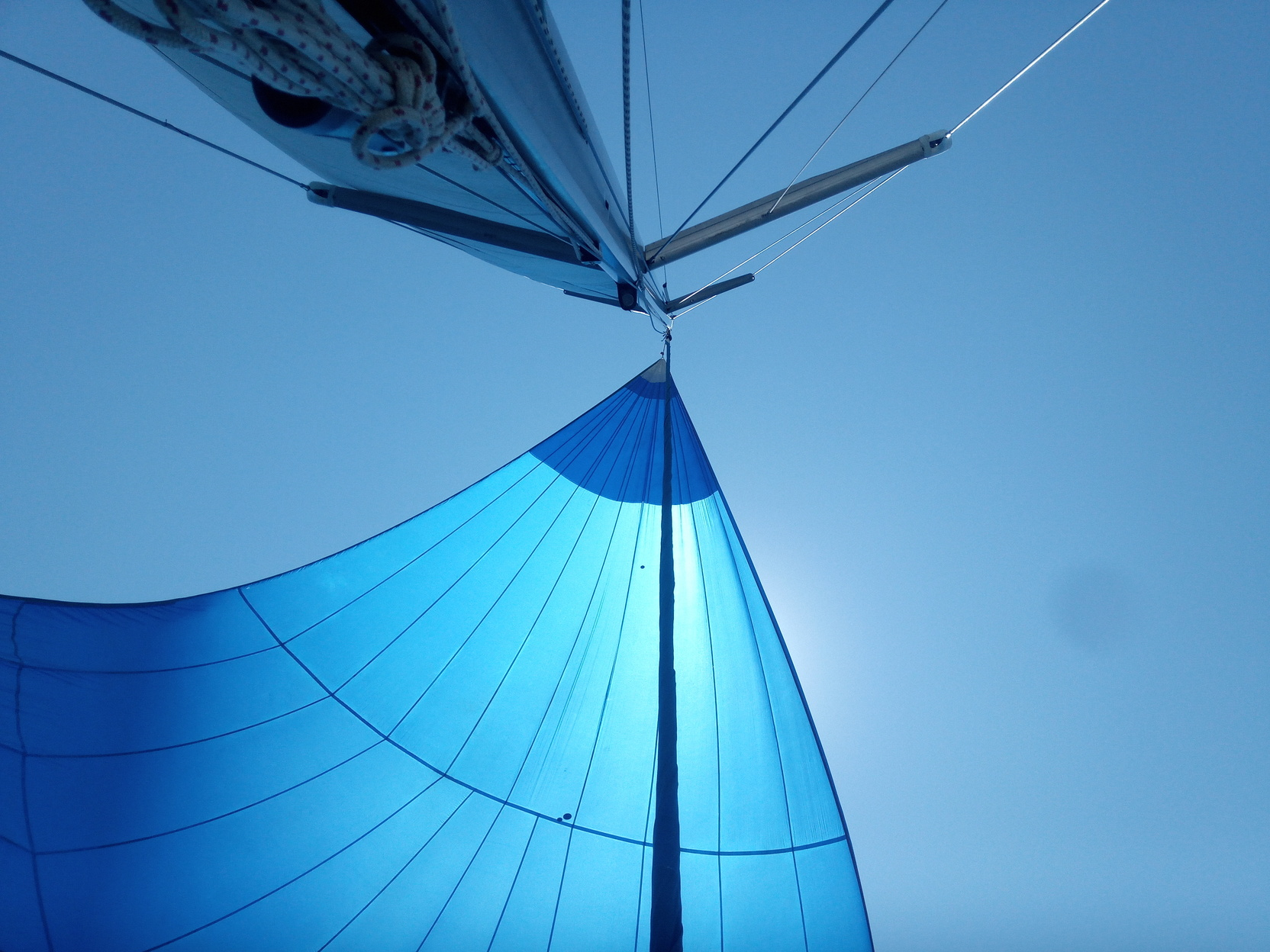 flying the asymetric.  Shades of blue